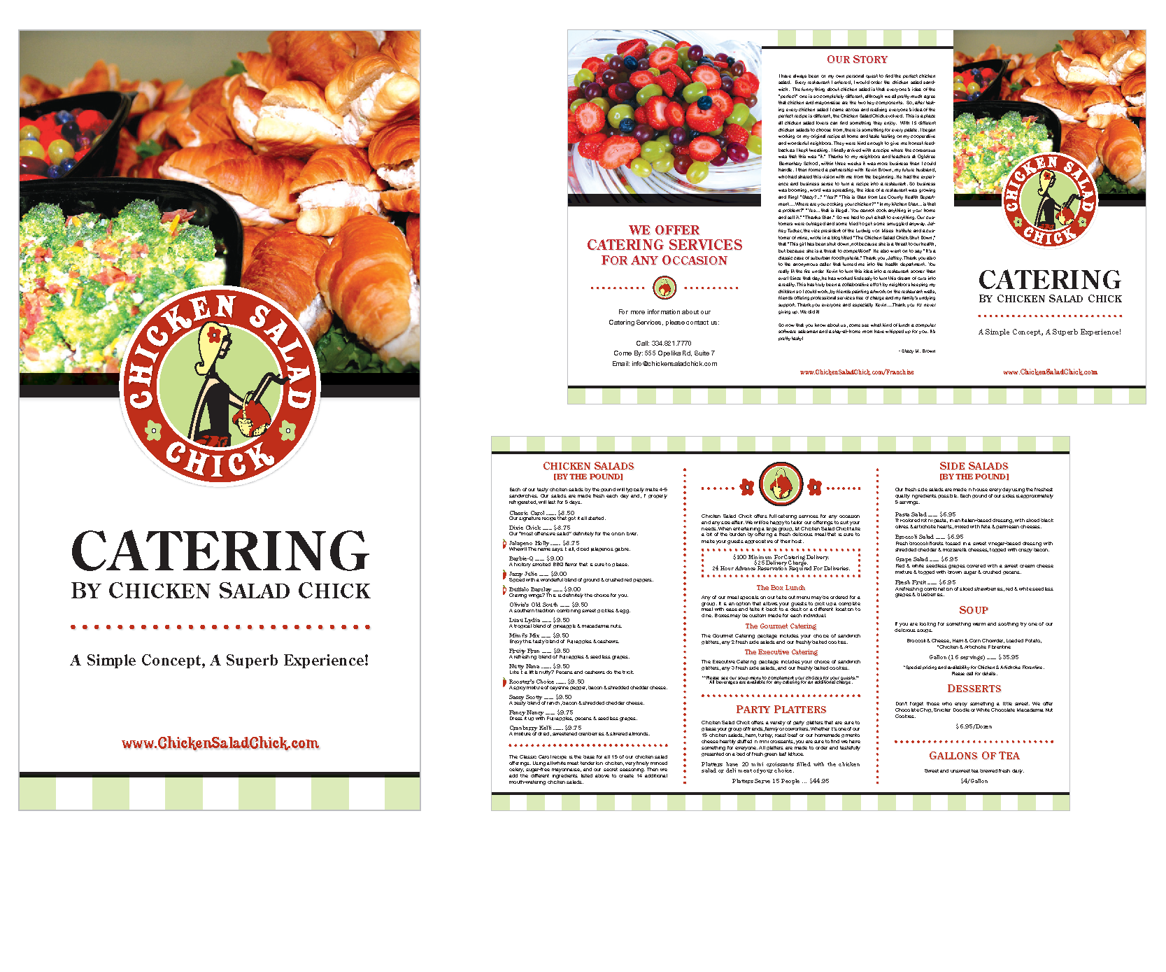 Catering Menu Design for Chicken Salad Chick