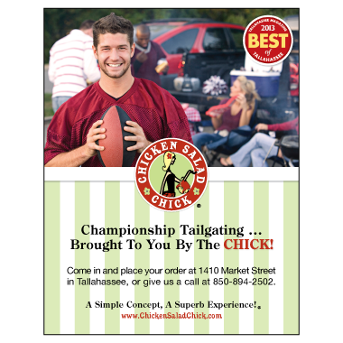 Chicken Salad Chick Tallahassee Tailgating Ad Design