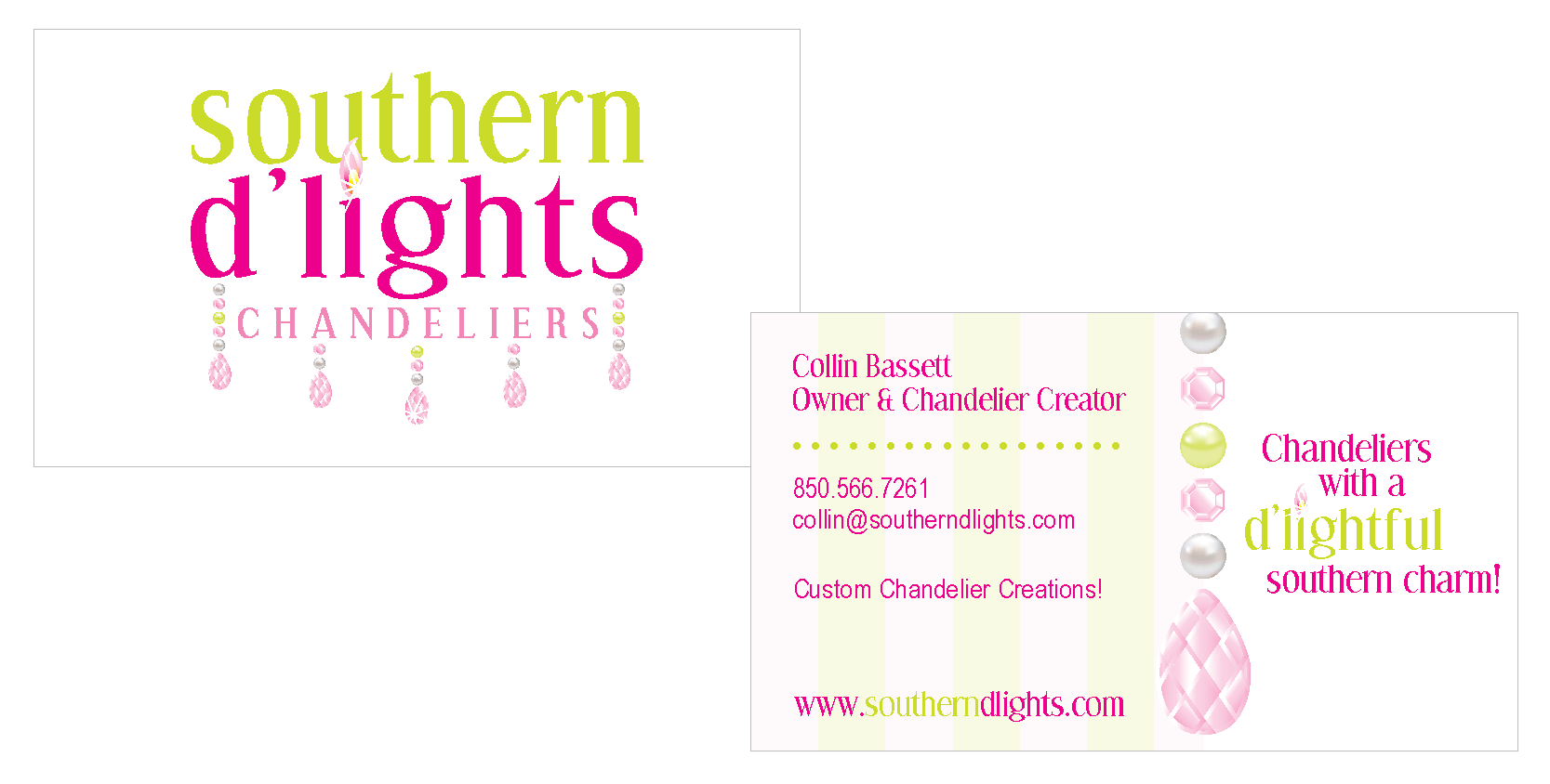 southern d'lights chandeliers business card