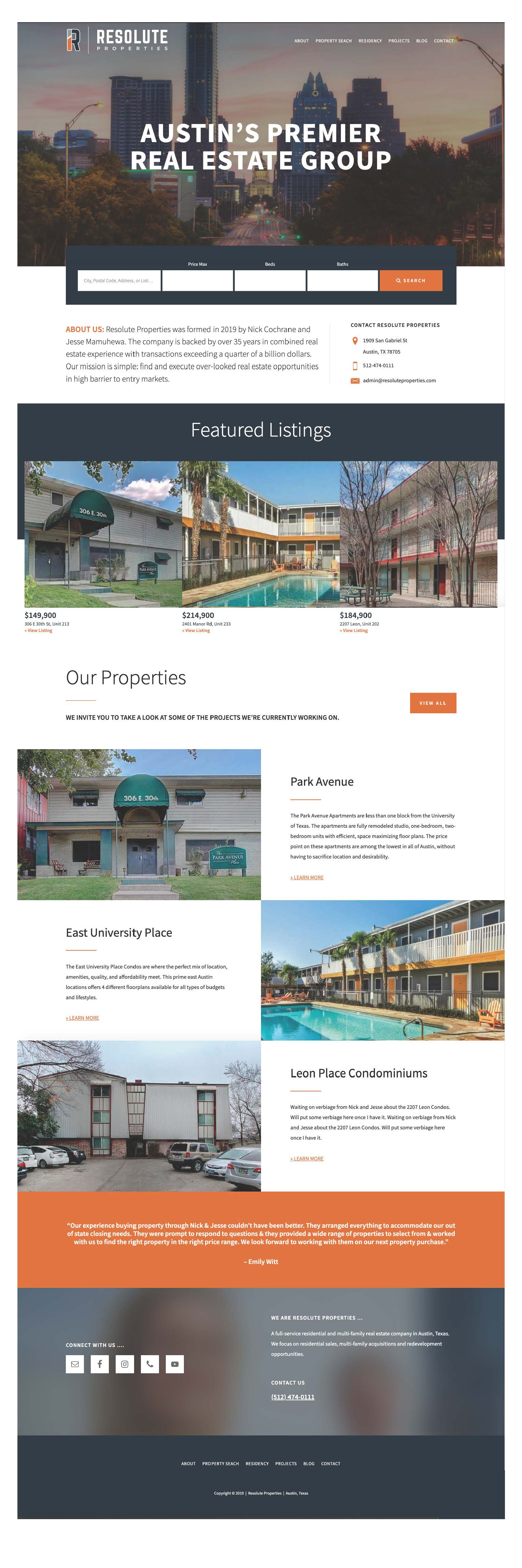 Resolute Properties Austin Website Design